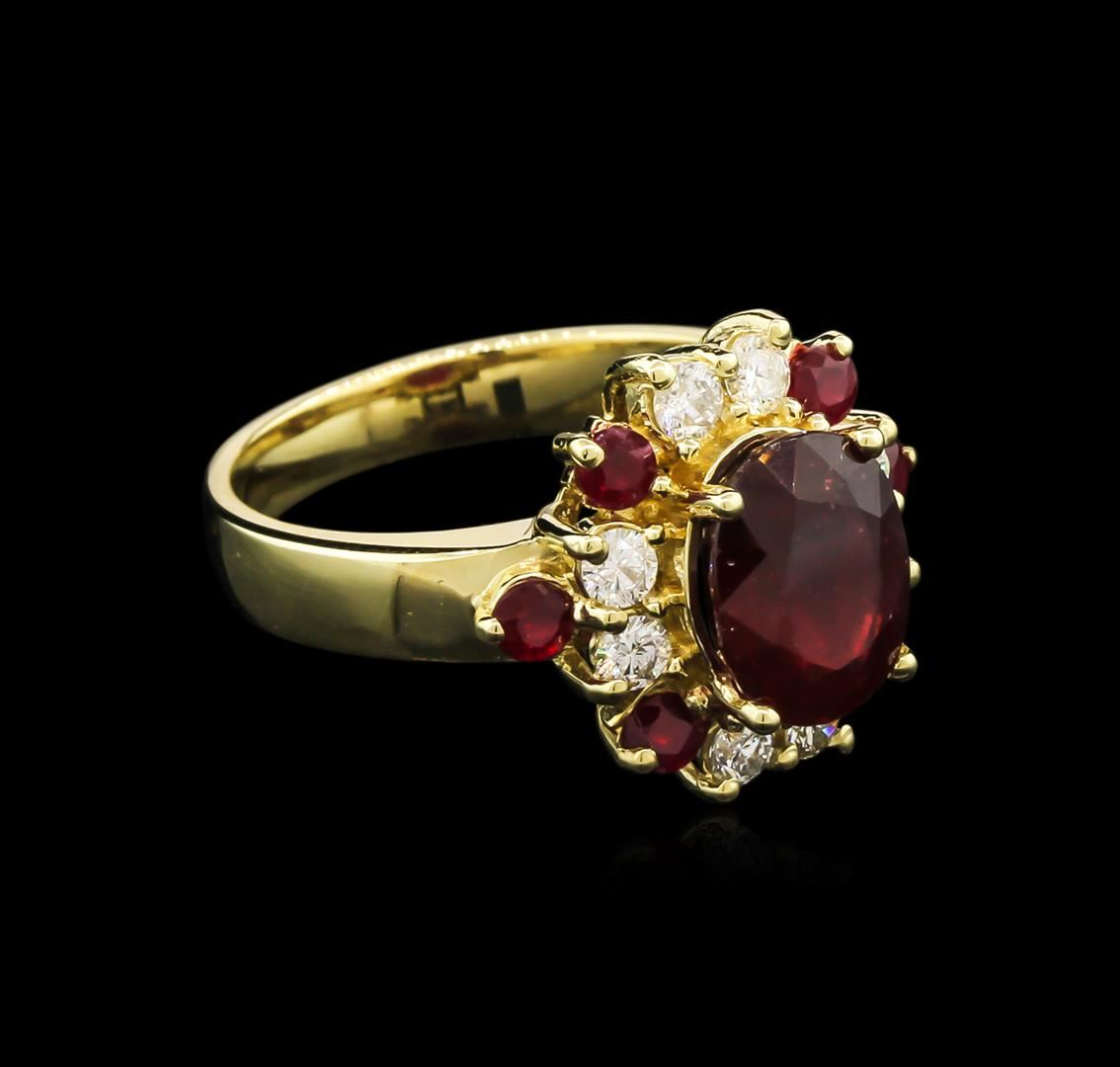 3.65ctw Ruby and Diamond Ring - 14KT Yellow Gold