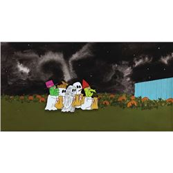 Original production cel and pan production background featuring the Peanuts gang in costume