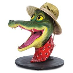 "Animatronic ""Swamp Boy"" alligator head from ""America Sings"" Disneyland attraction."