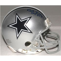 "Bob Lilly Signed Cowboys Mini-Helmet Inscribed ""HOF 80"" (Schwartz COA)"
