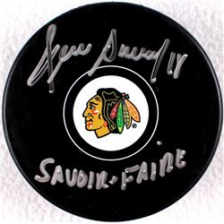 "Denis Savard Signed Blackhawks Logo Hockey Puck Inscribed ""Savoir Faire"" (Schwartz COA)"