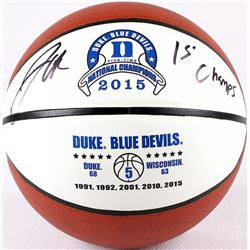 "Jahlil Okafor Signed Duke Logo Basketball Inscribed ""15 Champs"" (Schwartz COA)"
