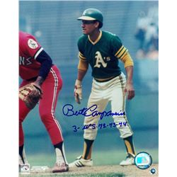 "Bert Campaneris Signed Athletics 8x10 Photo Inscribed ""3-WS. 72-73-74"" (MLB Hologram)"