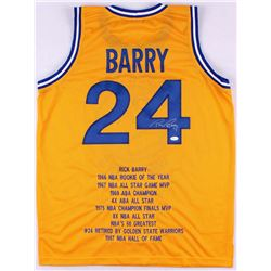 Rick Barry Signed Warriors Career Highlight Stat Jersey (JSA COA)