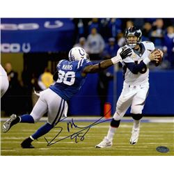 Robert Mathis Signed Colts 8x10 Photo vs. Peyton Manning (Schwartz COA)