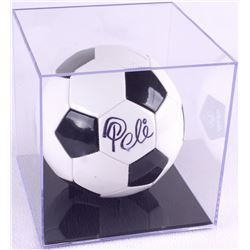 Pele Signed Soccer Ball with Display Case (PSA COA)