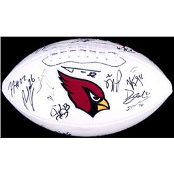 2015 Arizona Cardinals Team Logo Football Signed by (19) with Rashad Johnson, Bobby Massie, David Jo