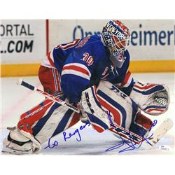 "Henrik Lundqvist Signed Rangers 11x14 Photo Inscribed ""Go Rangers!"" (JSA COA)"