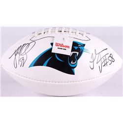 Luke Kuechly & Thomas Davis Dual Signed Panthers Logo Football (JSA COA)