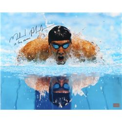 "Michael Phelps Signed 16x20 Photo Inscribed ""18 Gold Medals"" (GTSM COA)"