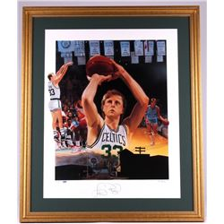 Larry Bird Signed Celtics 29x35 Custom Framed Lithograph Display (PSA COA)