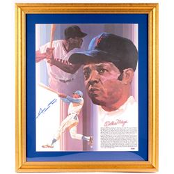 Willie Mays Signed Giants 23x27 Custom Framed Lithograph Display (PSA COA)