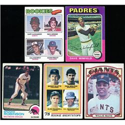 Lot of (5) Vintage Baseball Cards with 1972 Topps #49 Willie Mays, 1975 Topps #61 Dave Winfield, 197