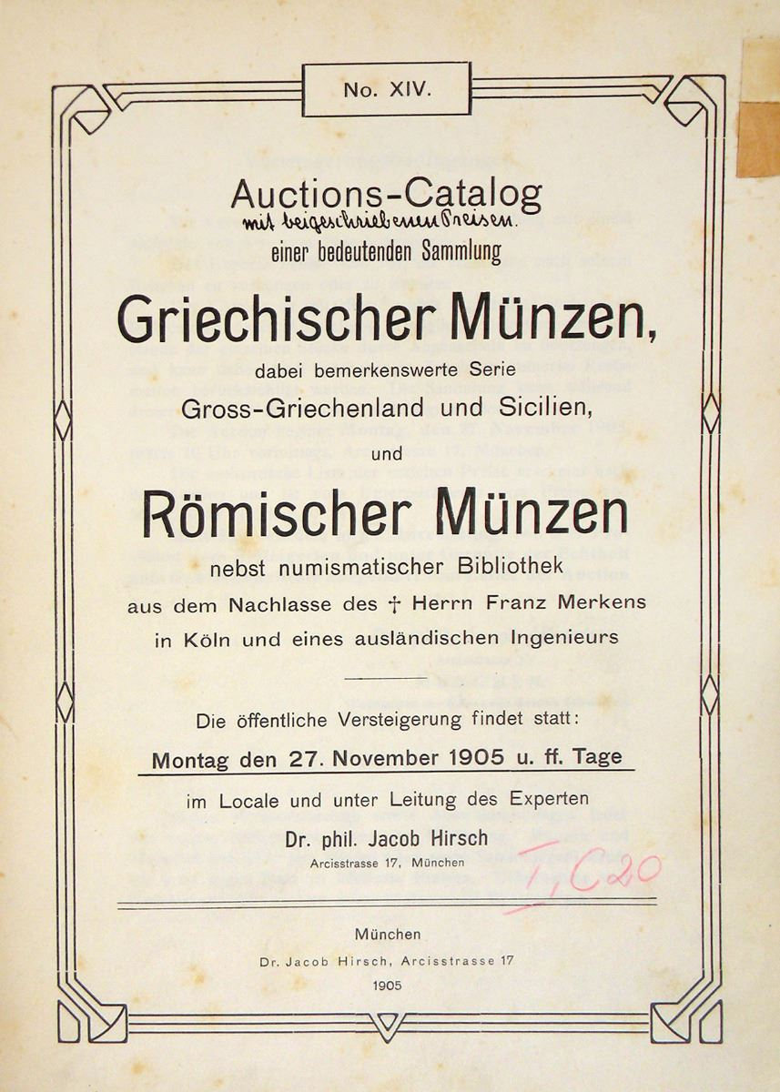 Bound Volume Of Hirsch Sales Including Weber Greek