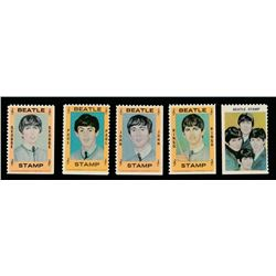 Set of (5) 1964 Hallmark Beatles Stamps with John Lennon, Paul McCartney, George Harrison & Ringo St