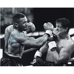 Mike Tyson Signed 16x20 Photo vs. Sylvester Stallone (JSA COA)