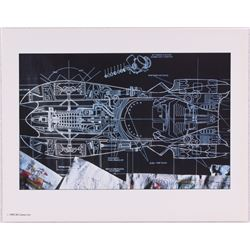 Batman Batmobile Blueprint Limited Edition 11x14 Zanart Movie Card