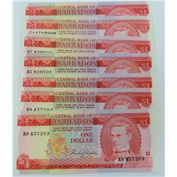 WORLD PAPER-BARBADOS $1 LOT OF 6
