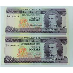 WORLD PAPER-BARBADOS $20 NOTES, LOT OF 2