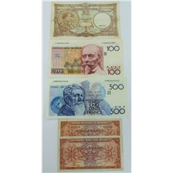 WORLD PAPER-BELGIUM LOT OF 5 NOTES