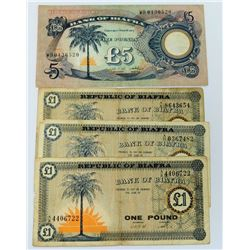 WORLD PAPER-BIAFRA LOT OF 4 NOTES