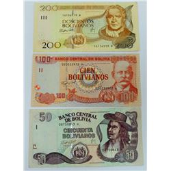 WORLD PAPER-BOLIVIA LOT OF 3 NOTES