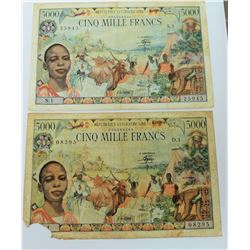 WORLD PAPER-CENTRAL AFRICAN REPUBLIC 5000 FRANC 1980