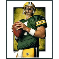 Brett Favre Packers Limited Edition 11x14 Signed Art Print by Jeff Lang (Artist Proof #3/3)