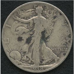 1938 Walking Liberty Silver Half Dollar