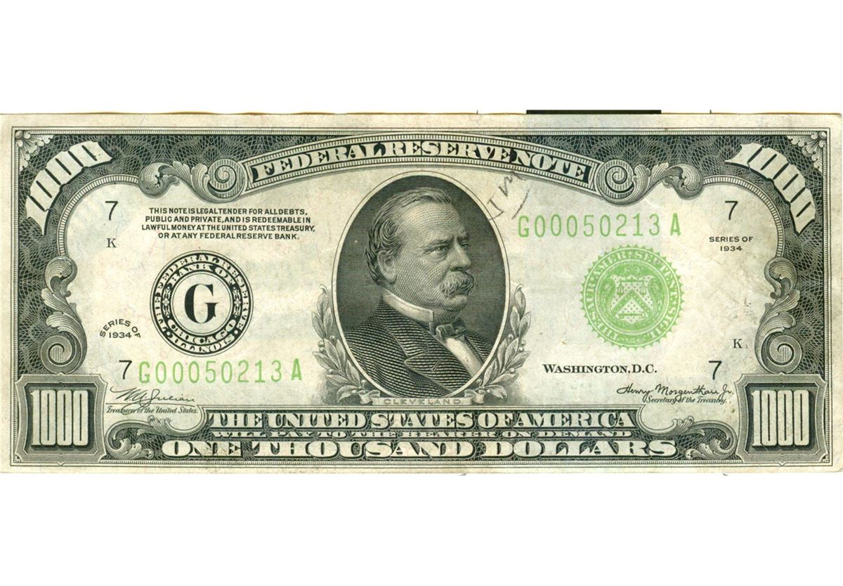 1934 1000 Chicago Frn One Thousand Dollar Bill