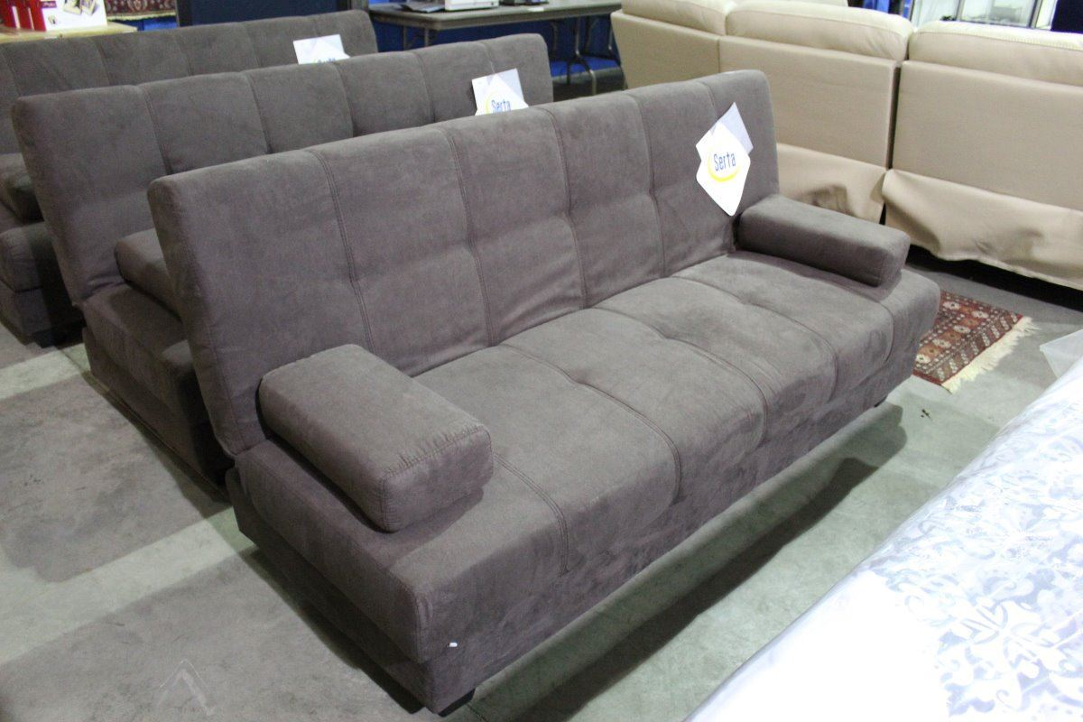 serta chocolate brown micro fiber suede click clack sofa able auctions. Black Bedroom Furniture Sets. Home Design Ideas