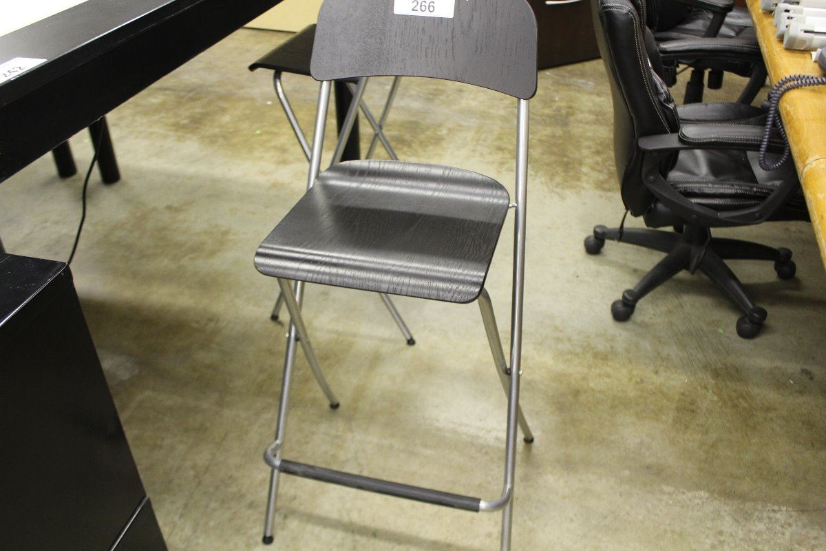 4 BLACK AND GREY IKEA FOLDING BAR HEIGHT CHAIRS Able Auctions