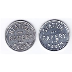 Ontario Trade Tokens, Brantford County - Lot of 2 Paris, Ont bread tokens