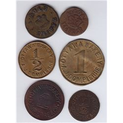 Ontario Trade Tokens, Carleton County - Lot of 6 Ottawa Bakery Tokens