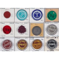 Ontario Trade Tokens, Carleton County - Lot of 12 Ottawa Parking and Transportation Tokens
