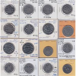 Ontario Trade Tokens, Carleton County - Lot of 16 Ottawa Bottle Return Tokens
