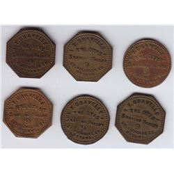 Ontario Trade Tokens, Carleton County - Lot of 6 Ottawa Shave Tokens