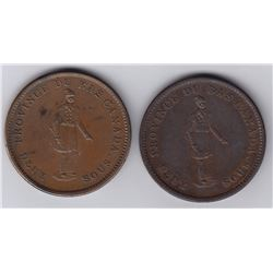Br 521. City Bank Penny, 1837. Lot of 2.