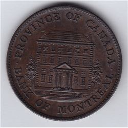Br 527. Bank of Montreal Halfpenny, 1844. Small trees.