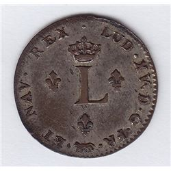 Br 508. Billon Double Sol of 24 Deniers. 1738 A. (Paris).