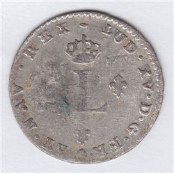 Br 508. Billon Double Sol of 24 Deniers. 1739 B. (Rouen).