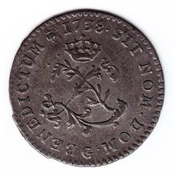 Br 508. Billon Double Sol of 24 Deniers. 1738 G. (Poitiers).
