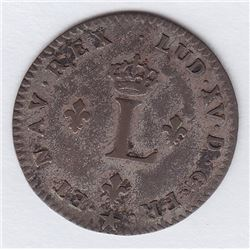 Br 508. Billon Double Sol of 24 Deniers. 1739 H. (La Rochelle).