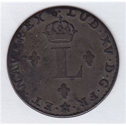 Br 508. Billon Double Sol of 24 Deniers. 1742 H. (La Rochelle)