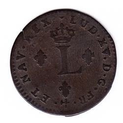 Br 508. Billon Double Sol of 24 Deniers. 1739 R. (Orleans).