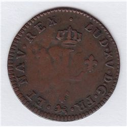 Br 508. Billon Double Sol of 24 Deniers. 1740 T. (Nantes).