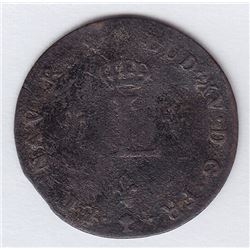 Br 508. Billon Double Sol of 24 Deniers. 1741 V. (Troyes).