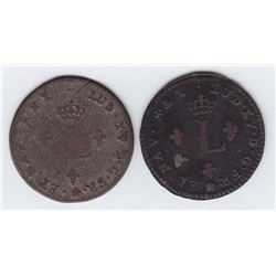 Br 508. Billon Double Sol of 24 Deniers. 1739 AA. (Metz).