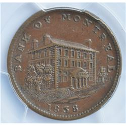 Bank of Montreal Sideview Lower Canada Halfpenny, 1838.