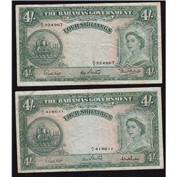 Government of the Bahamas 4 Shillings Note, 1953
